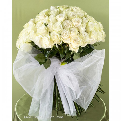 101 white long stemmed roses bouquet wrapped in pure white paper 101 white roses bouquet mightylinksfo