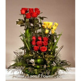 3 layers of roses basket
