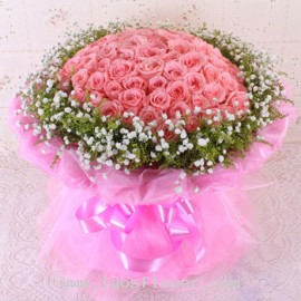 100 Pink Roses Bouquet