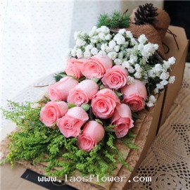 11 Pink Roses Bouquet