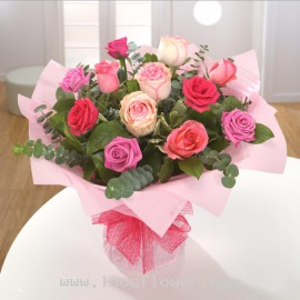 A Bouquet of 12 Pink Roses
