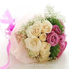 16 Pink & White Roses Bouquet
