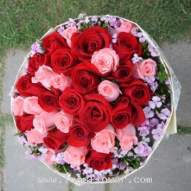 32 Pink & Red Roses Bouquet
