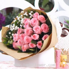 A Bouquet of 19 Pink Roses