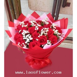 A Bouquet of 22 Red Roses