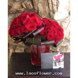 A Vase of 50 Roses