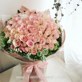 A Bouquet of 99 Pink Roses