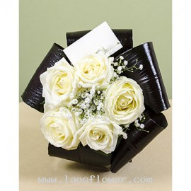 5 White Roses Bouquet