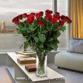A Vase of 21 Red Roses